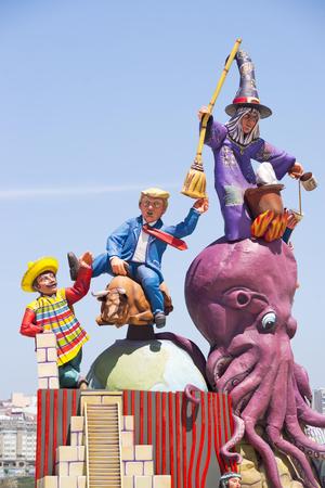 Coruna, Spain - June 23, 2017 : Saint John bonfires ,  festivity of International Tourist Interest ; Donald Trump,  mexican citizen, a witch and a soccer player of Deportivo of Coruna