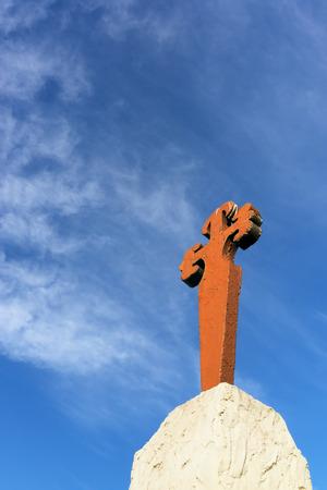 way of St James ,Santiago cross symbol in Leon to Compostela , Spain