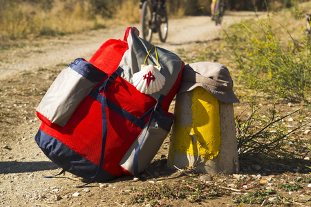 way of St James ,pilgrim backpack , to Compostela near Astorga  , Leon , Spain
