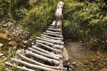 slog: trekking and hiking, wooden bridge over river