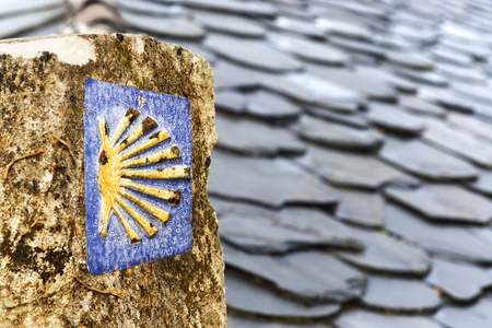 way of St James  scallop sign  to Compostela  , in Villafranca , Leon , Spain