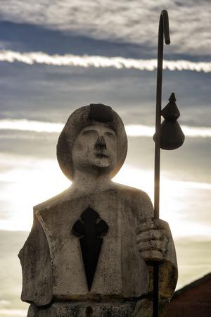 Villafranca of Bierzo, Leon, Spain, november 05, 2017: pilgrim monument in way of St James to Compostela
