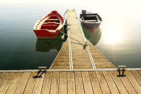 fishing boats on lake Stock Photo