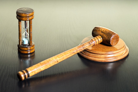 auction bid sale judgment mallet and hourglass