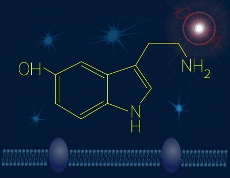 behaviours: Serotonin chemical structure Stock Photo