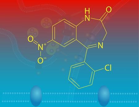 benzodiazepine: Clonazepam molecular structure Stock Photo