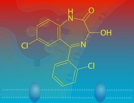benzodiazepine: Lorazepam molecular structure Stock Photo