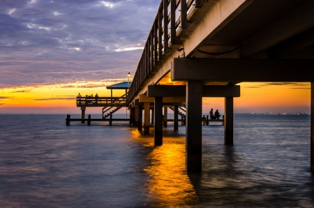 alabama: Pier at Sunset Stock Photo