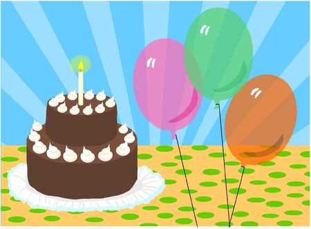 birthday cake with baloons Illustration