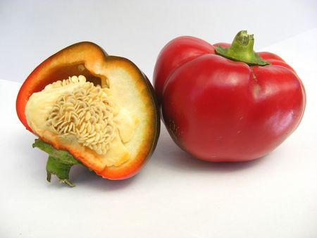 a red paprika and a half Stock Photo