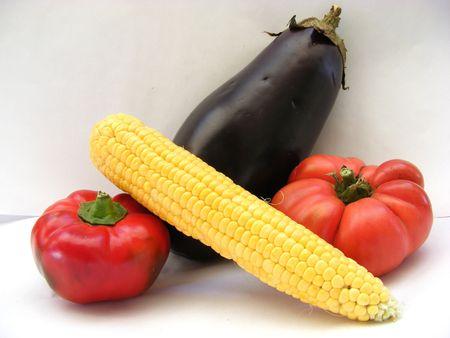 eggplant, corn, tomatoe and paprika