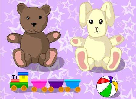 toys for children, teddy bear, rabbit, toy train, a ball Illustration