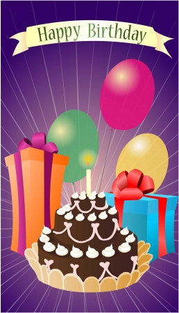 birthday greeting with purpel background Vector