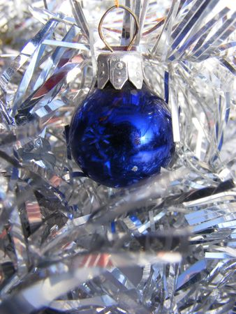 blue christmas globe on shiny silver background Stock Photo - 6080253