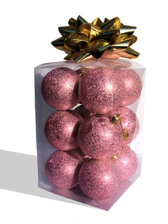 ornaments in a transparent box with golden ribbon Stock Photo - 6080248