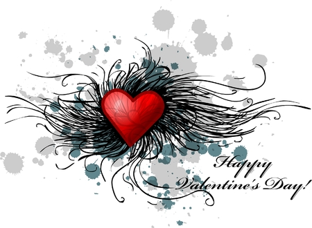 creative arts: valentines day greeting card, with ink splats and text Illustration