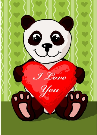 valentines day greeting card, with panda bear holdin a heart