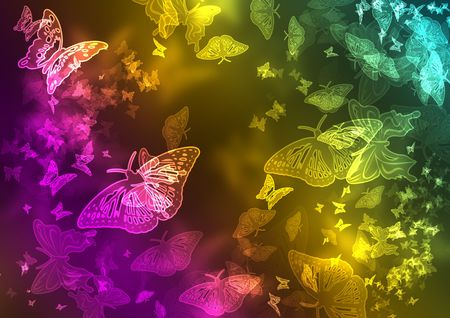 colorfull glowing butterflies Stock Photo