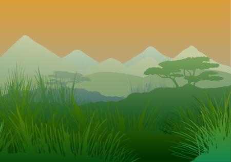 Morning in the savanna Illustration