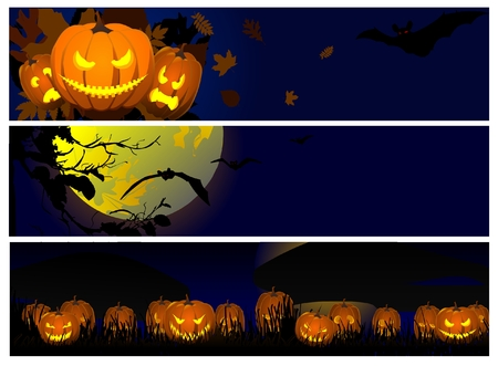 halloween backgrounds: Collection of halloween banners Illustration