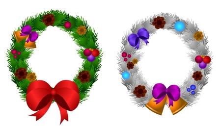 green and silver christmas wreath Stock Vector - 8381135