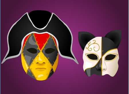 Carnival masks for man, and a cat mask Vector