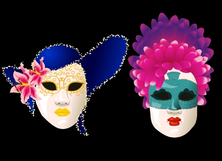 Carnival masks with hat and feather Illustration