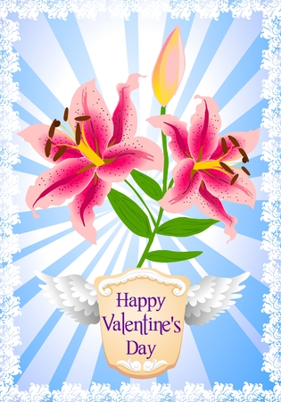 Vintage Valentine's Day greeting with lilies Stock Vector - 8877703
