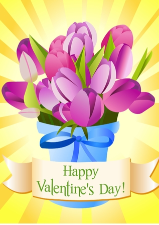 Valentine's Day greetingcard with tulips Stock Vector - 8877702