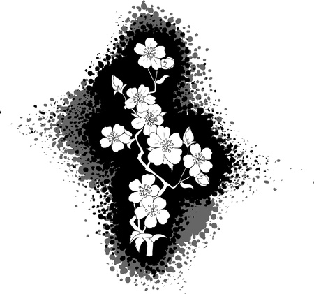 Black and white drawing of cherry blossom