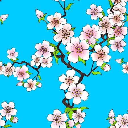 kimono: Patr�n de flor de cerezo Vectores
