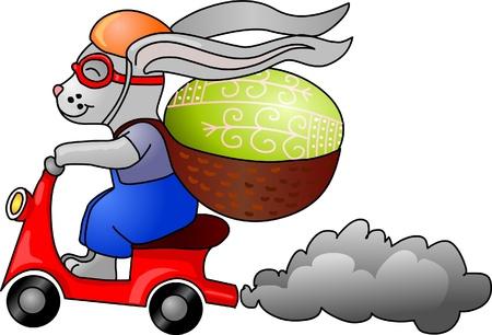 decorated bike: Coniglietto di Pasqua su un briciolo di moto un uovo sulla schiena