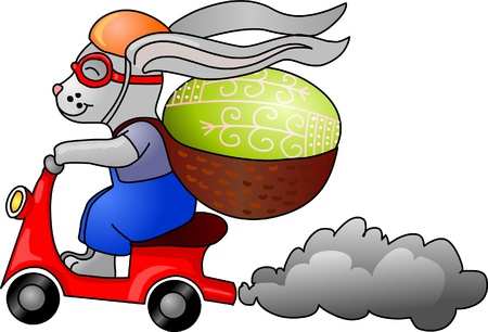 pink smoke: Easter bunny on a  motorcycle whit an egg on his back Illustration