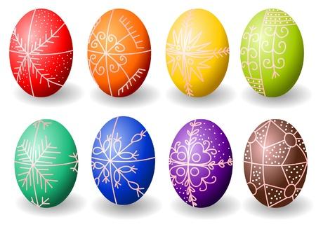 Painted easter eggs whit hungarian motives Illustration