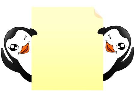 penguins wave behind a sheet of paper