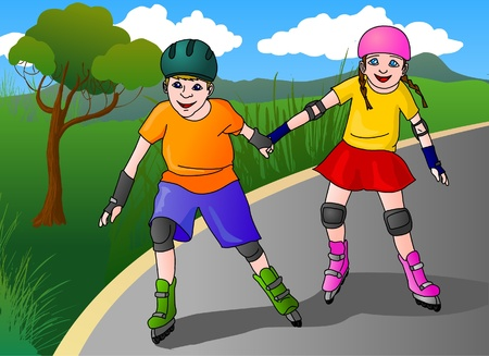 inline: Girl and boy inline skateing in a park Illustration