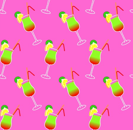 seamless pattern with  cocktail glasses on pink background Illustration