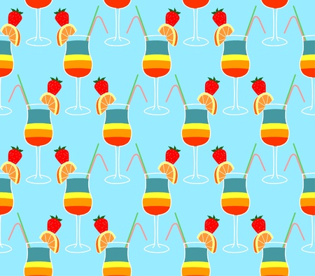 seamless pattern with  cocktail glasses on blue background Stock Vector - 10401800
