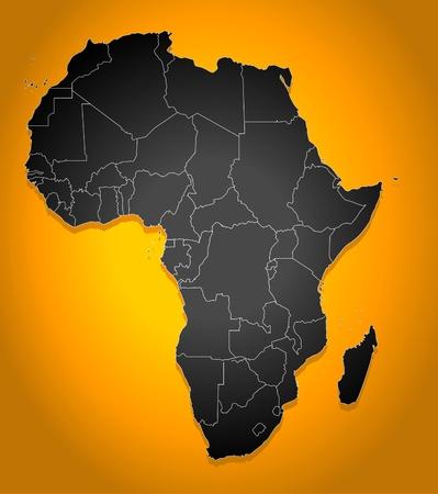 mapa de africa: Mapa pol�tico de �frica Vectores