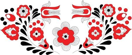 pattern whit decorative flowers, Hungarin motive Stock Vector - 10756333