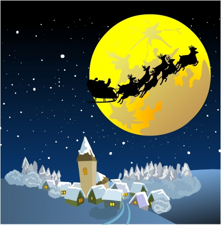 santas village: Santa Into the Winter Christmas Night Illustration