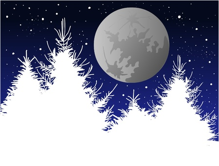 Silver Moon and pine Stock Vector - 16294722