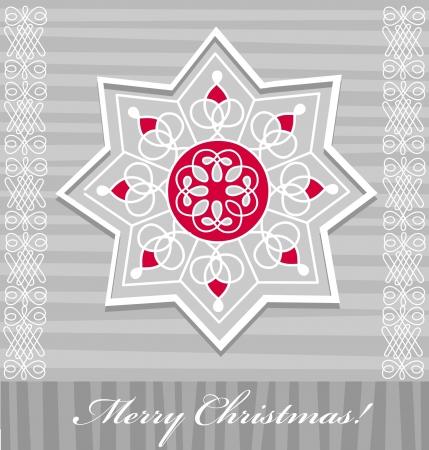 Decorative snowflake greeting, Christmas Illustration