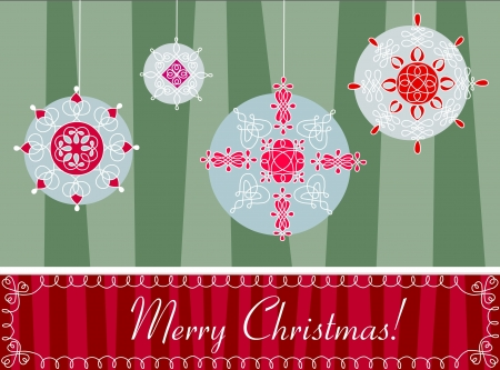 Decorative snowflake globes, Christmas greeting. Stock Vector - 16449962