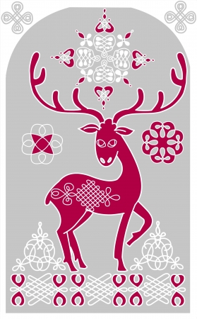Decorative deer, Christmas greeting Vector