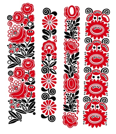 Traditional Hungarian floral patterns Vector