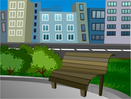 A bench in a city park Stock Vector - 16449963