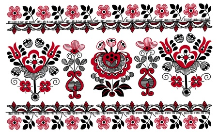 pattern whit decorative flowers, Hungarian motive Vector