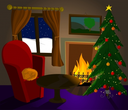 Christmas room with fireplace, cat and Christmas tree