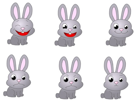 rabbit emoticon  Stock Vector - 17998264